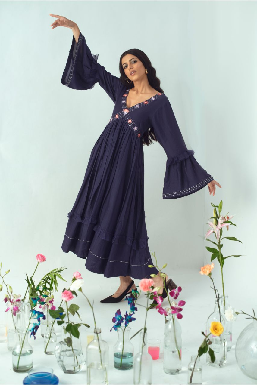Navy V-Neck Floral Hand Embroidered Bohemian Dress - Riviera Closet