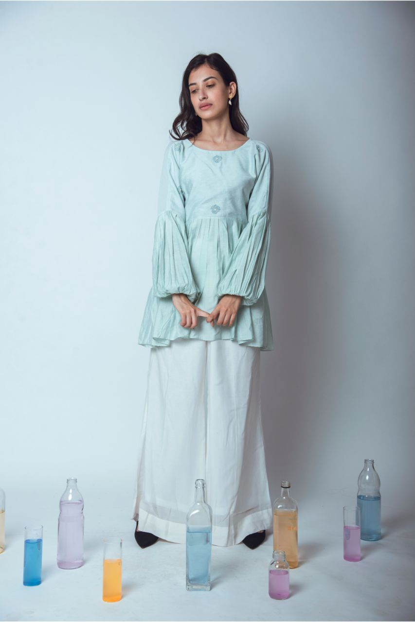 Pleated Mint Green Chanderi Silk Top - Riviera Closet