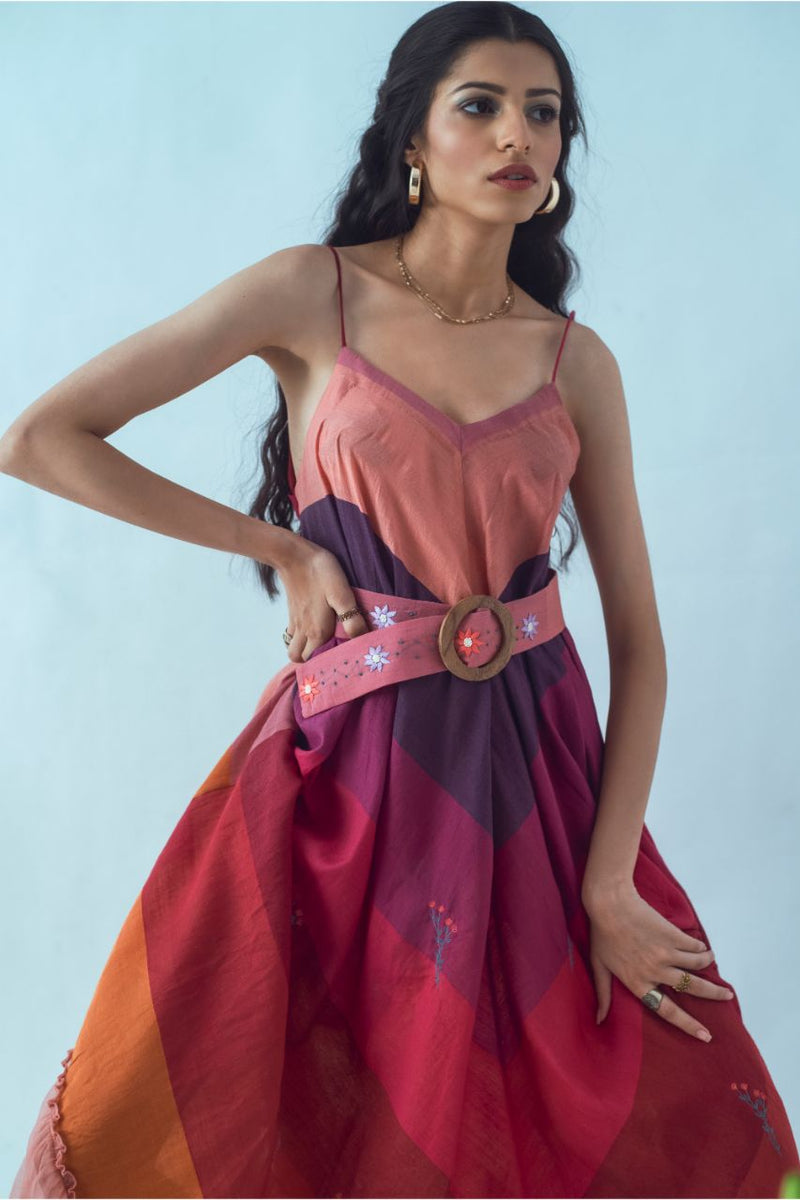 Colourful Strapped Dress with an Embroidered Belt - Riviera Closet