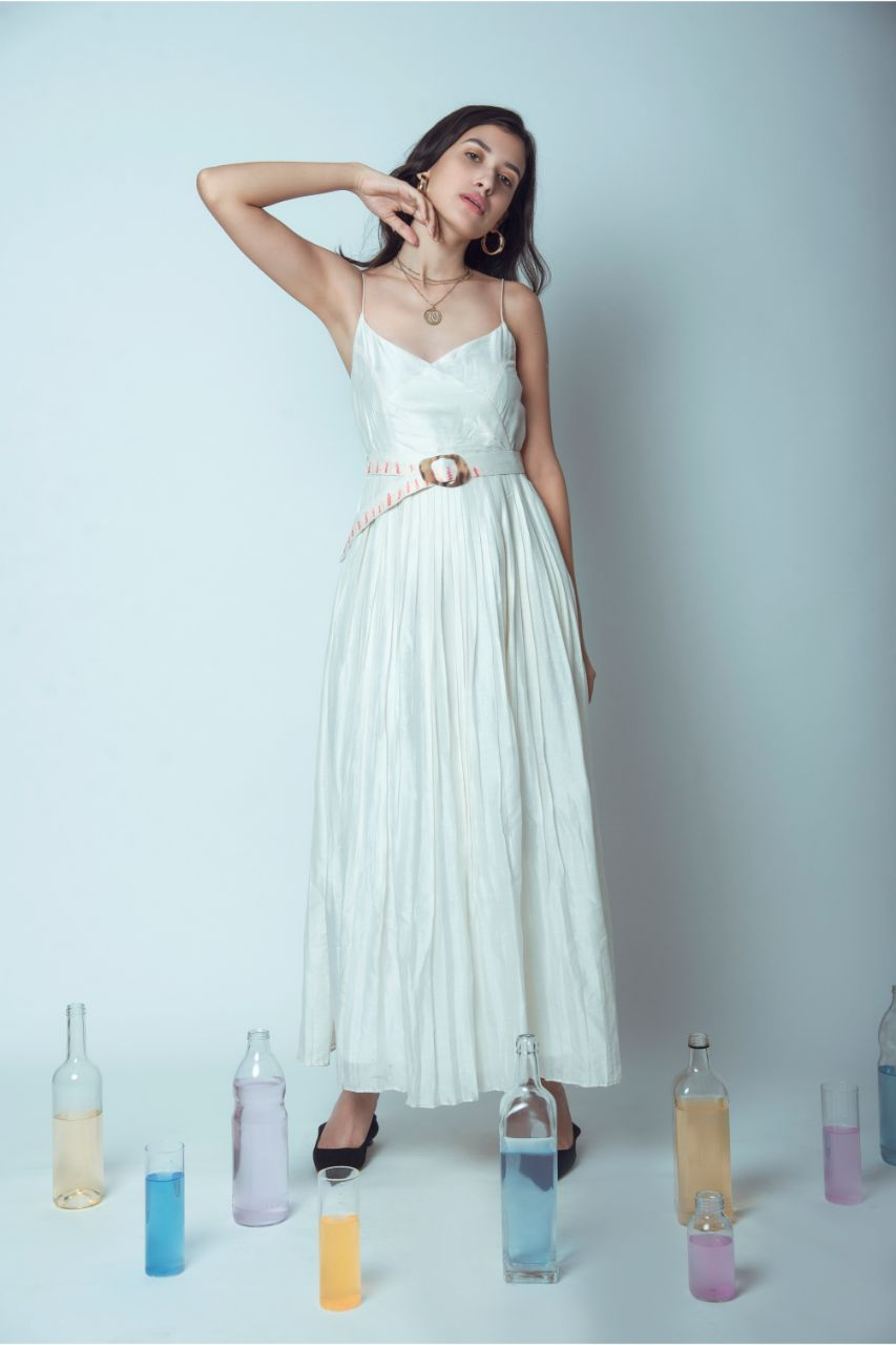 Pure Silk Pleated Pearl White Spagetti Dress - Riviera Closet