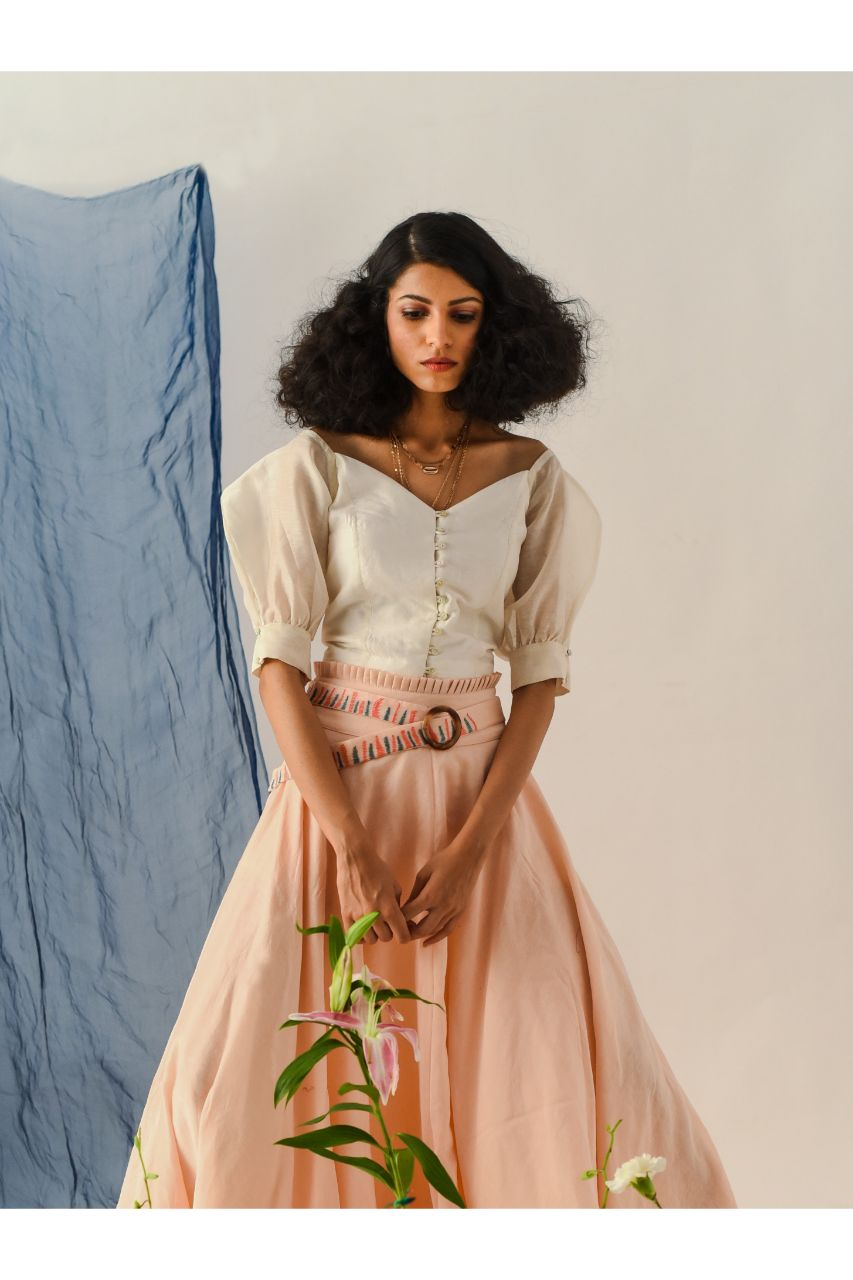 Cream Chanderi Silk Crop Top - Riviera Closet