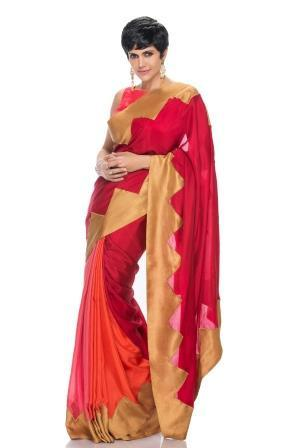 Pink, Peach and Maroon Saree with Antic Gold Chevron Border - Riviera Closet