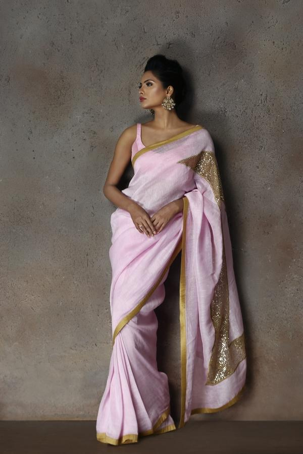 Pink Linen Cut- Work Saree - Riviera Closet
