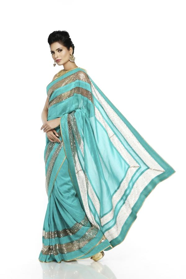 Sea Green Linen Saree - Riviera Closet