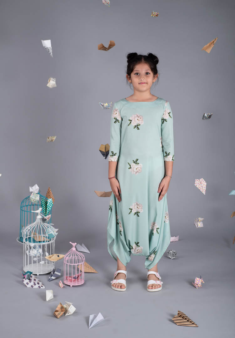 Girls Tiny Treasure Adriatic Mist Dhoti Jumpsuit - Riviera Closet