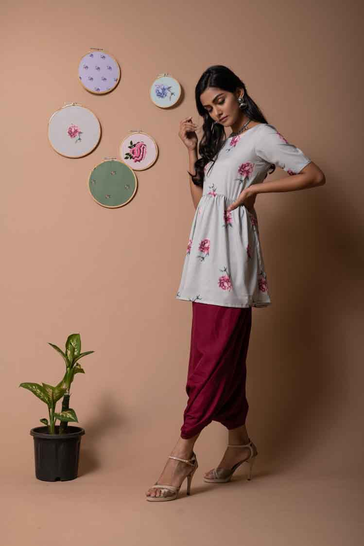 Rose Peplum Top with Maroon Solid Dhoti Pants - Riviera Closet