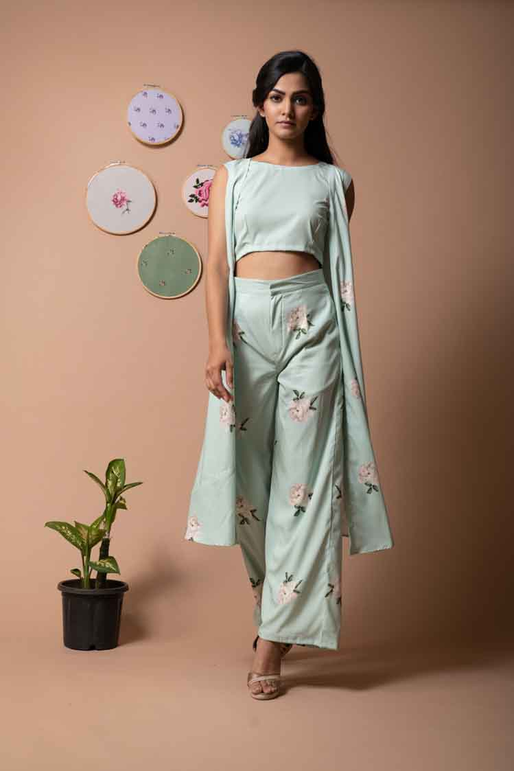 Green Lily Coordinated Set with Printed Pants - Riviera Closet