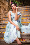 Aviary Blue Forget Me Not Saree Skirt Set - Riviera Closet