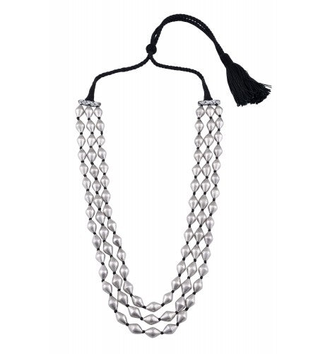 Silver Three Layer Dholki Bead Necklace - Riviera Closet