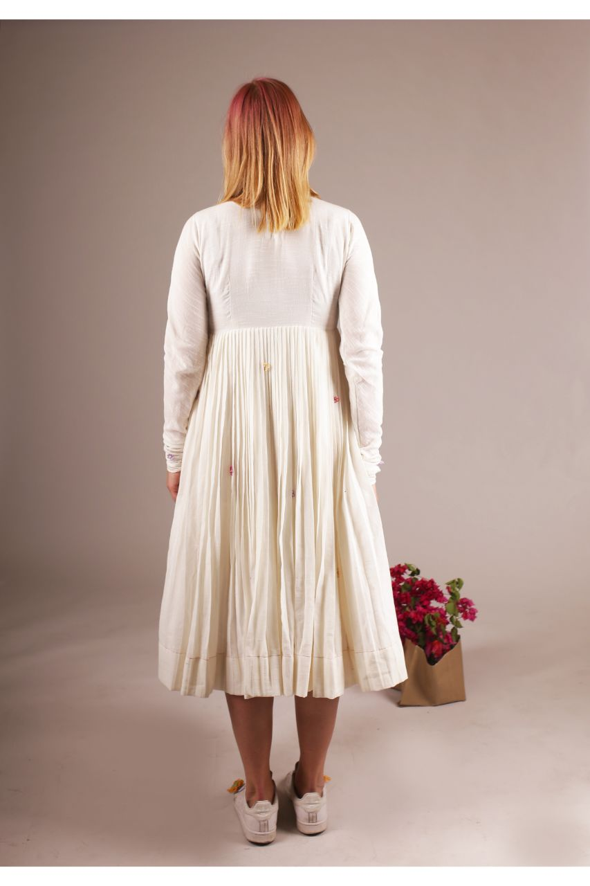 White Midi Cotton Folded Serene Bloom Dress - Riviera Closet