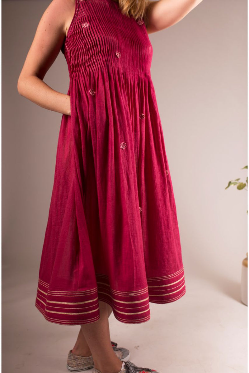 Marsala Spring Ankle Length Dress - Riviera Closet
