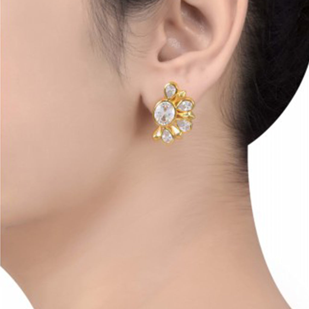 Silver Gold Plated Zircon Floral Ear Studs - Riviera Closet