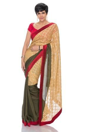 Olive Green and Beige Saree with Geometric Design - Riviera Closet
