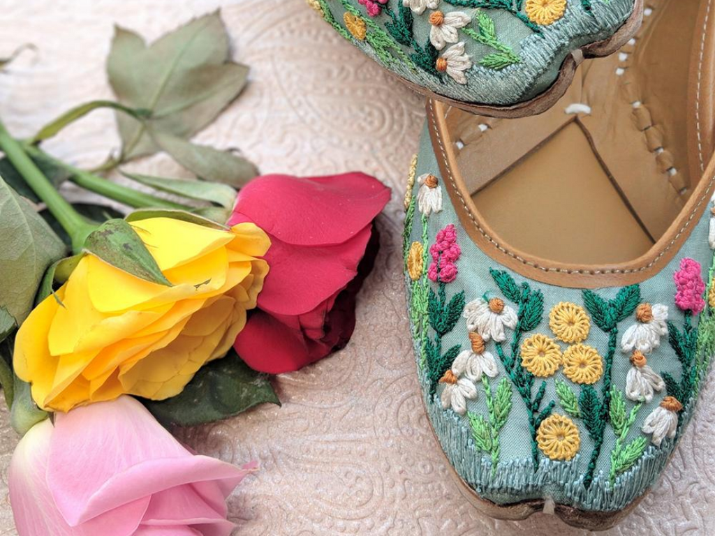 Fern Green Juttis with Floral Threadwork - Riviera Closet