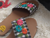 Gingham Goblin Sliders with Floral Embroidery - Riviera Closet