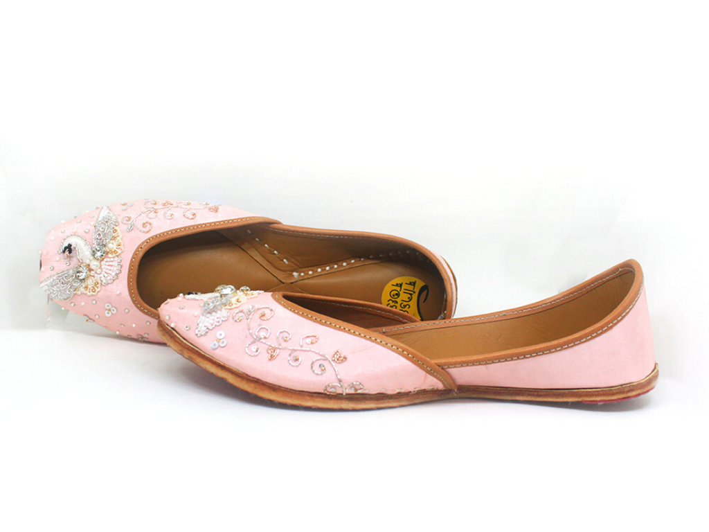 Light Pink Hand Embroidered Masakali Bird Motif Juttis - Riviera Closet