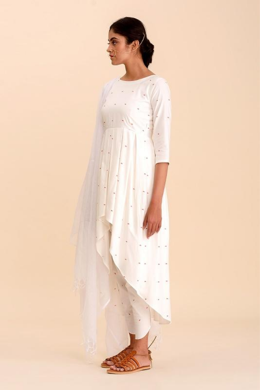 Indah Daisy White Assymetrical Kurti with Dhoti Pants Set - Riviera Closet