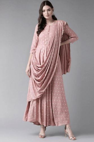 Light Pink Printed Dress With Attached Dupatta - Riviera Closet
