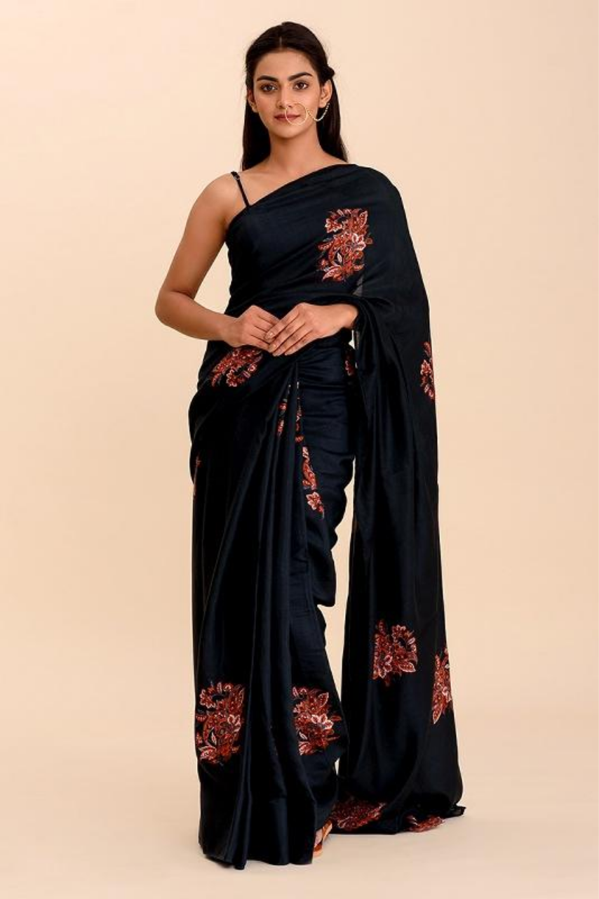 Kangan Navy Blue Printed Bamboo Saree - Riviera Closet