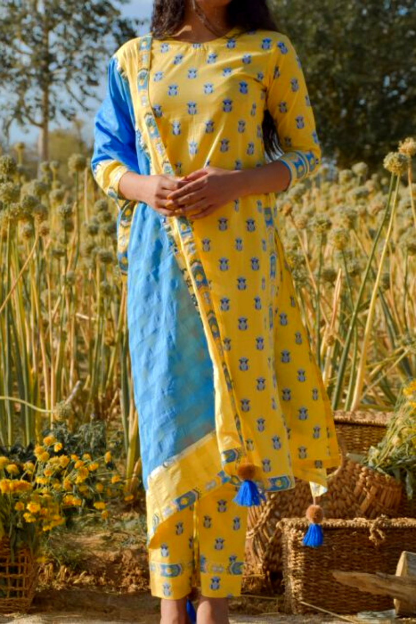 Bright Yellow Cotton Floral Printed Kurta Daffodil Daisy Set - Riviera Closet