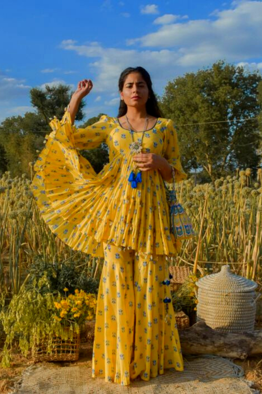 Bright Yellow Cotton Floral Printed Marigold Sharara Set - Riviera Closet