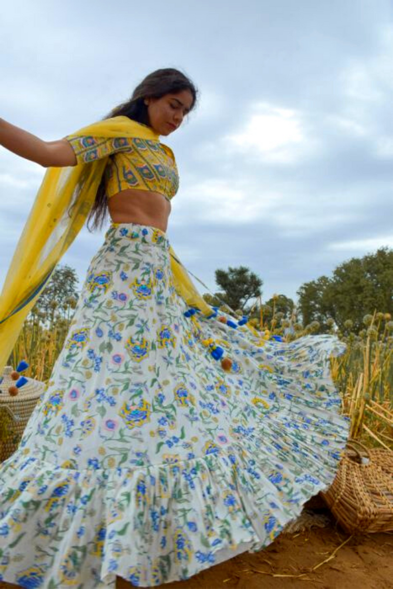White & Blue Floral Printed Embroidered Lehenga Set - Riviera Closet