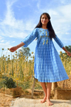 Blue Cotton Cornflower Midi Dress - Riviera Closet