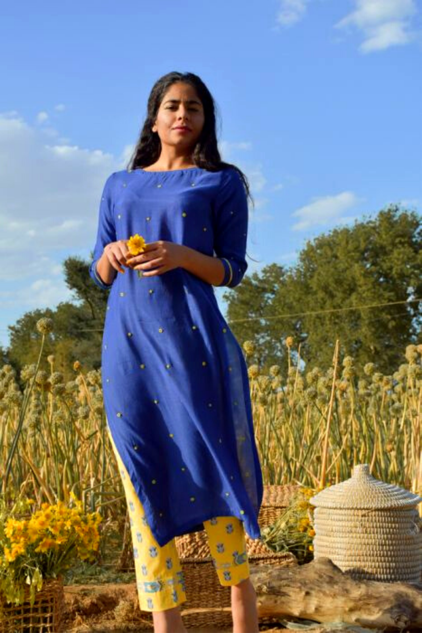 Bright Blue Silk Love In A Mist Contrast Kurta Set - Riviera Closet