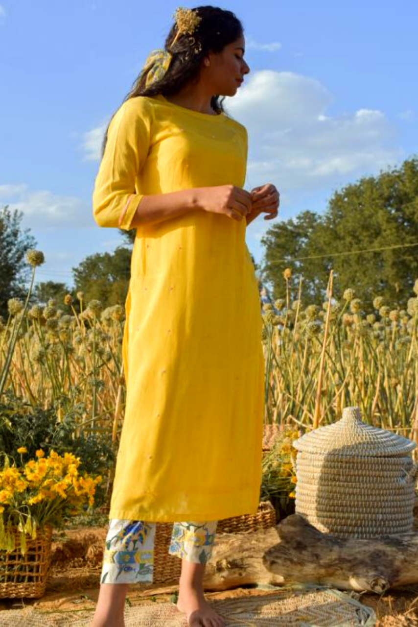 Bright Yellow Silk Primrose Contrast Kurta Set - Riviera Closet