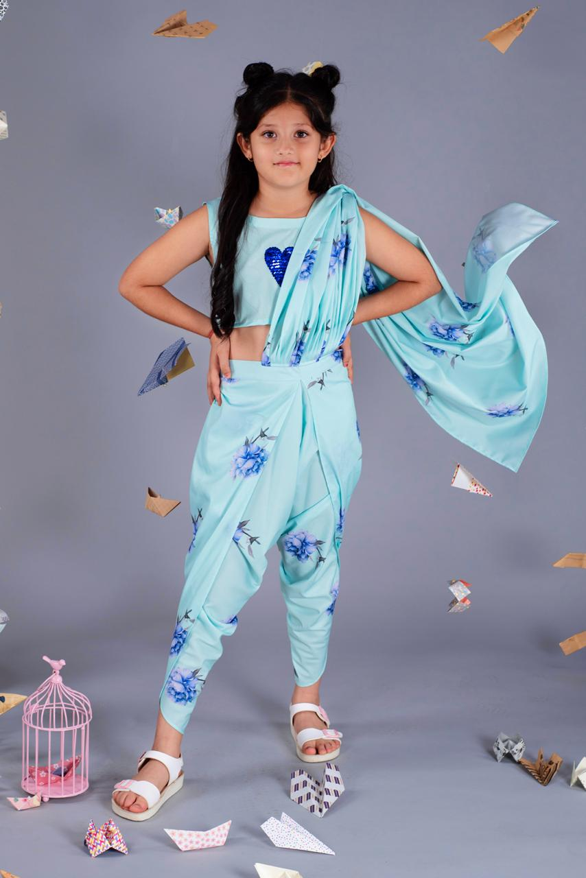 Girls Blue Unicorn Dhoti Saree Set - Riviera Closet