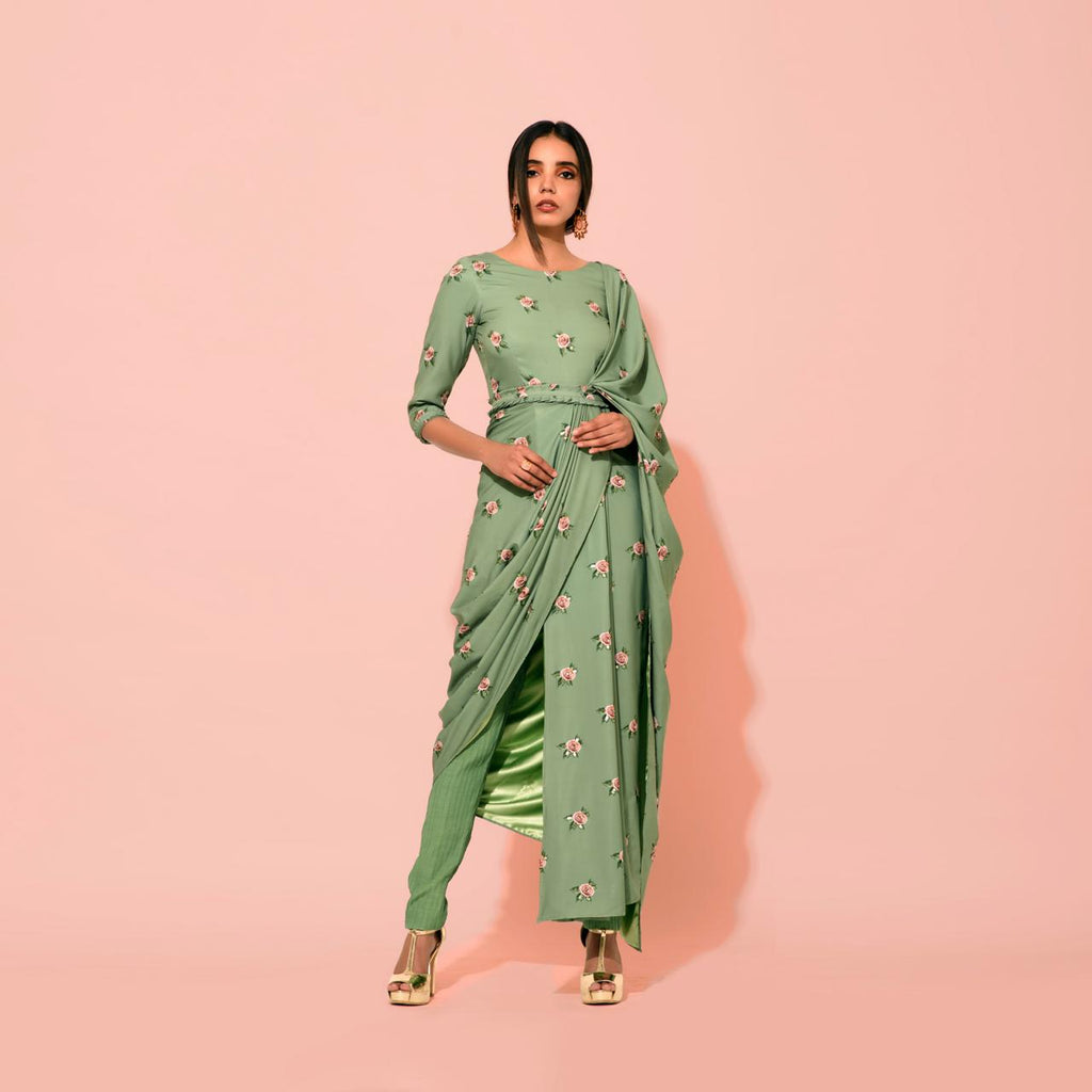Seafoam Saree Dress - Riviera Closet