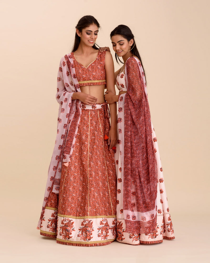 Aneri Red Custom Designer Floral Digital Printed Lehenga Set - Riviera Closet