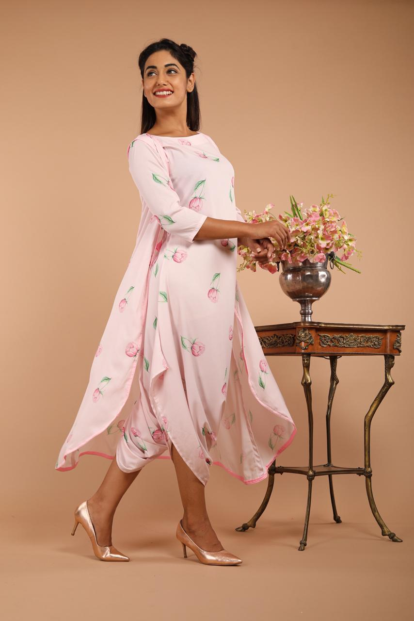 Lighthearted Pink Dhoti Jumpsuit & Cape Set - Riviera Closet