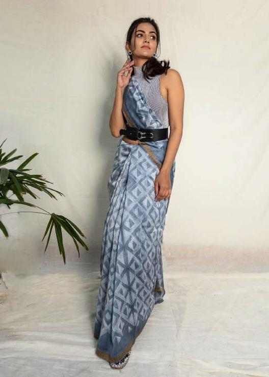 Grey Shibori Chanderi Cotton Saree - Riviera Closet