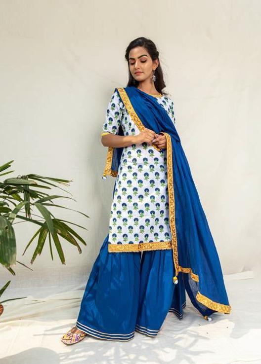 Royal Blue Floral Kurta Sharara Set - Riviera Closet