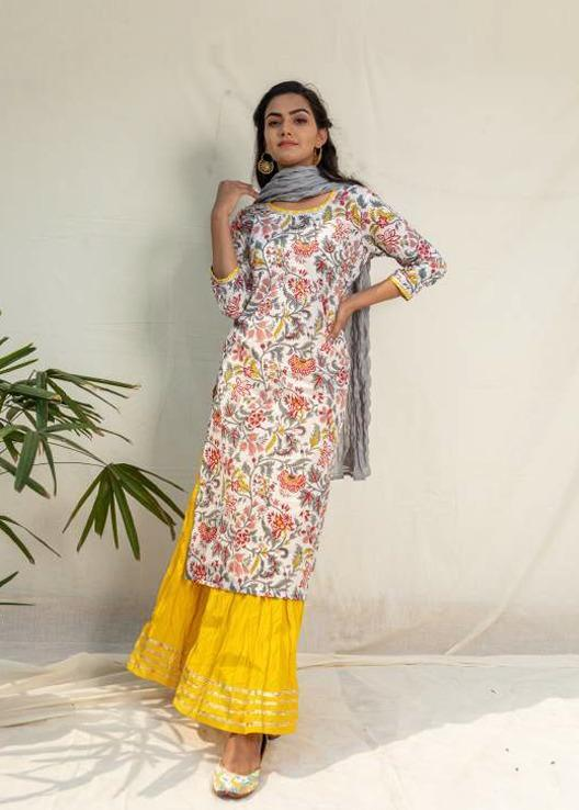 Floral Kurta with Contrast Yellow Crushed Skirt Set - Riviera Closet