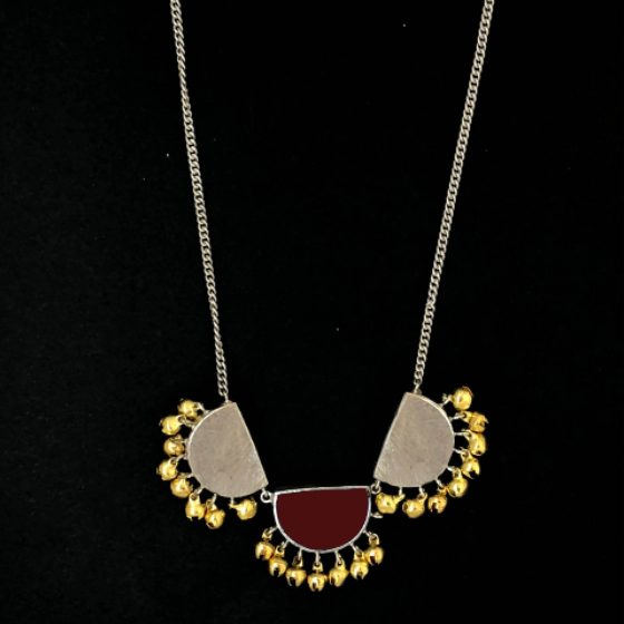Maroon Half Moon Long Necklace - Riviera Closet
