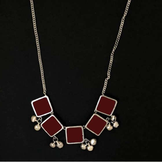Maroon Square Pendant Long Necklace - Riviera Closet