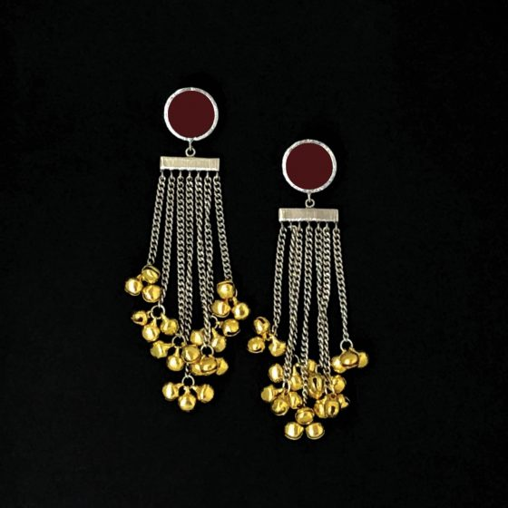 Maroon Tasseled Ghooghri Earrings - Riviera Closet