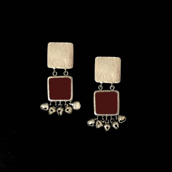 Maroon Square Ghooghri Earrings - Riviera Closet
