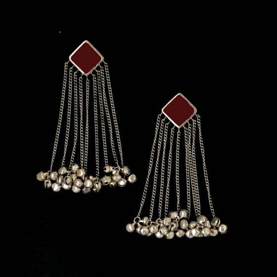 Maroon Square Tasseled Earrings - Riviera Closet