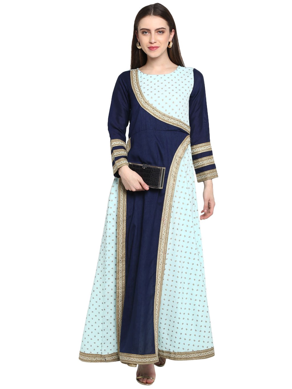 Blue Printed Kurta Style Dress - Riviera Closet