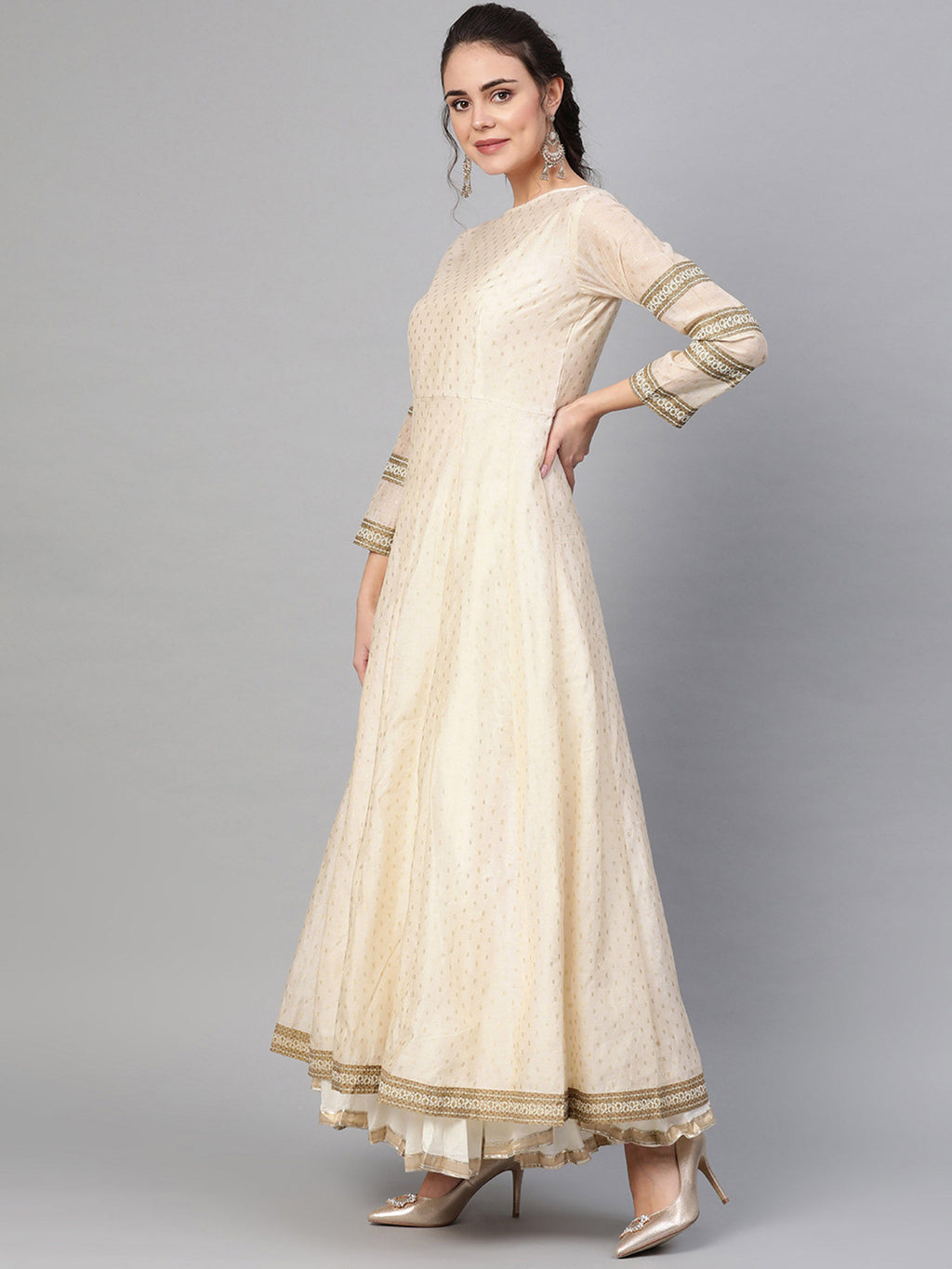 Beige Anarkali Maxi Dress With Dupatta -Set of 2 - Riviera Closet