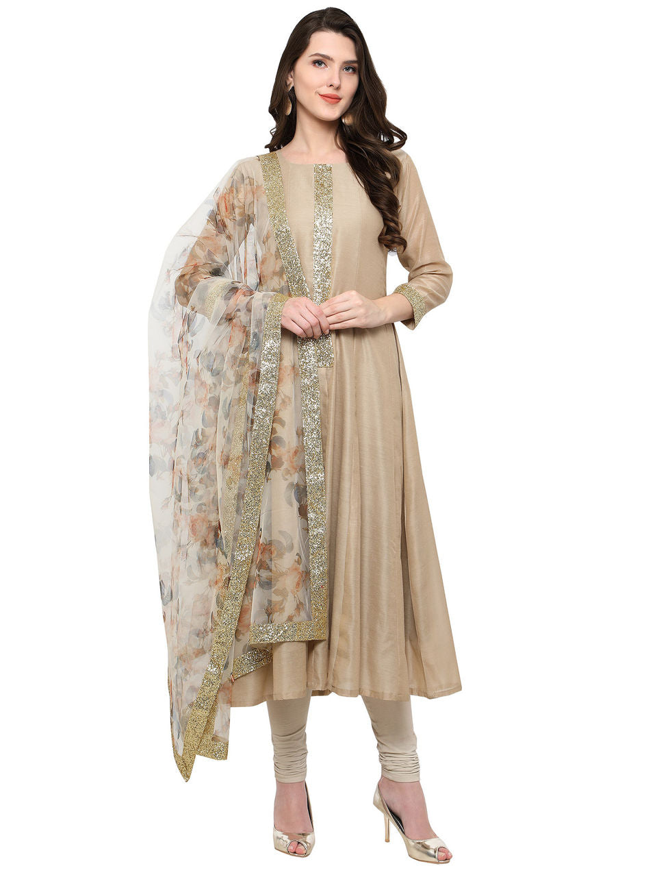 Beige & Off-White Anarkali Kurta with Dupatta with Shimmer Details - Riviera Closet