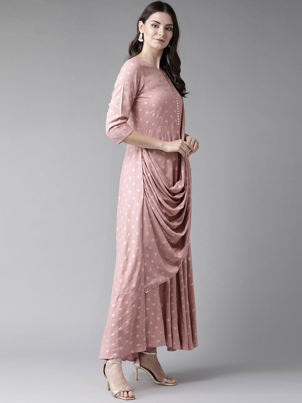Light Pink Printed Dress With Attached Dupatta