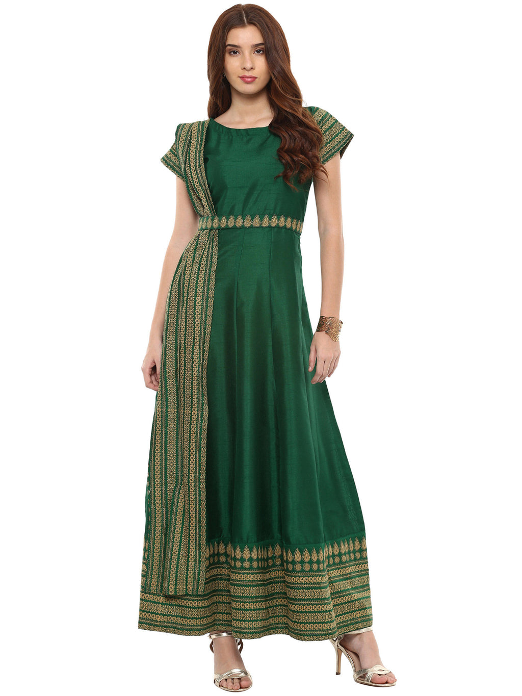 Green Printed Poly Silk Anarkali With Attached Dupatta - Riviera Closet