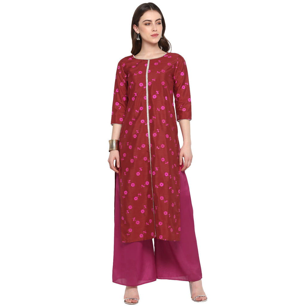 Maroon Floral Print Kurta With Palazzo - Set of 2 - Riviera Closet