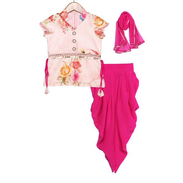 Amaaya Peach Kurti Dhoti Set by Free Sparrow