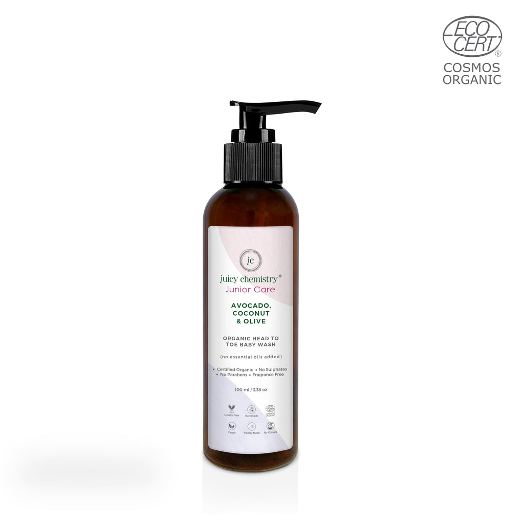 Avocado, Coconut & Olive Organic Head To Toe Baby Shampoo- 200ml - Riviera Closet