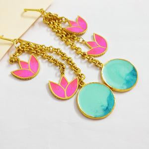 Tropic Love Lotus Gold-plated Enamel Earrings - Riviera Closet